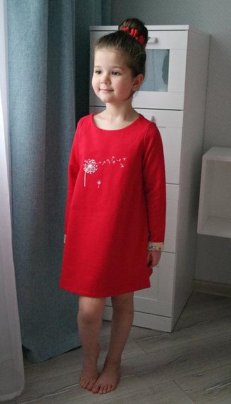 Платье Красное, с одуванчиком