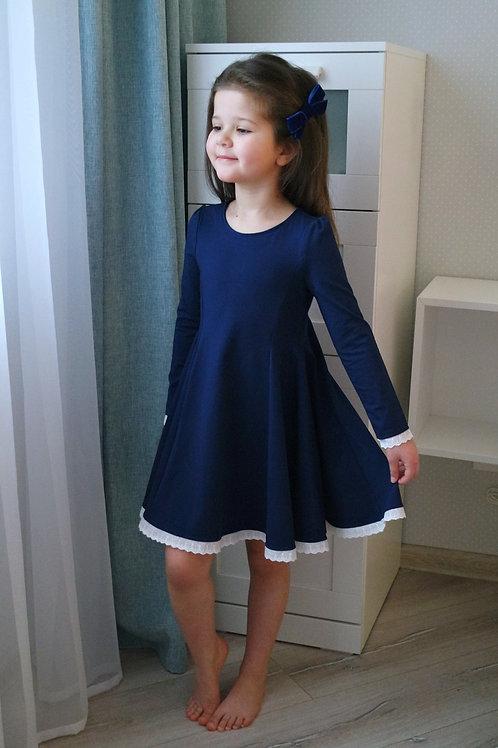 Платье Синее, трикотажное
