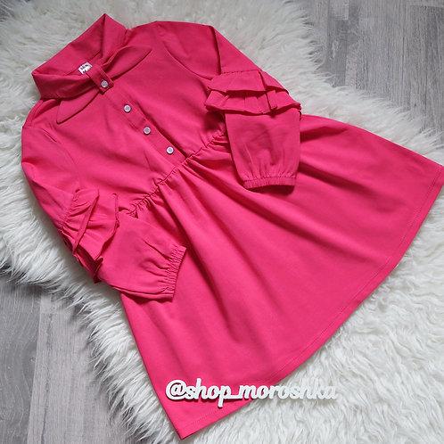 Платье Малиновое с рюшами