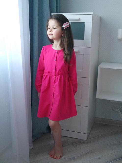 Платье Малиновое, с длинным рукавом