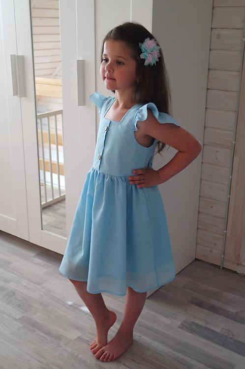 Платье Голубое, рукава-крылышки