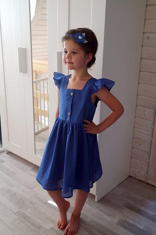 Платье Синее, рукава-крылышки