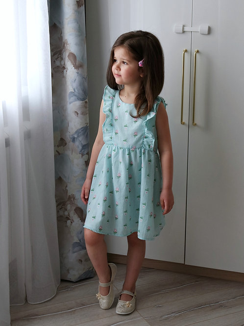 Платье Мятное, из муслина