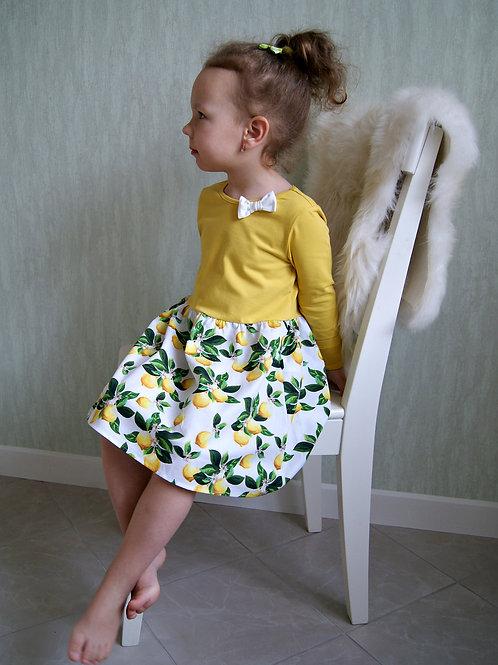 Платье комбинированное Лимоны