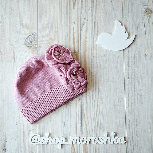 Шапка детская Жемчужные цветы, нежно-розовая