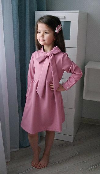 Платье Розовое, с бантом