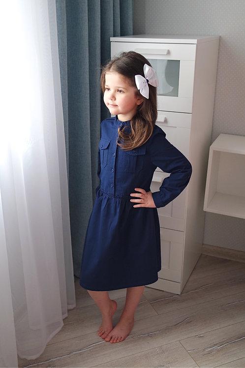 Платье-рубашка Тёмно-синее