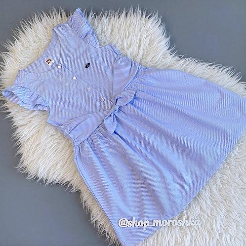 Платье Голубое, в полосочку, накладной пояс