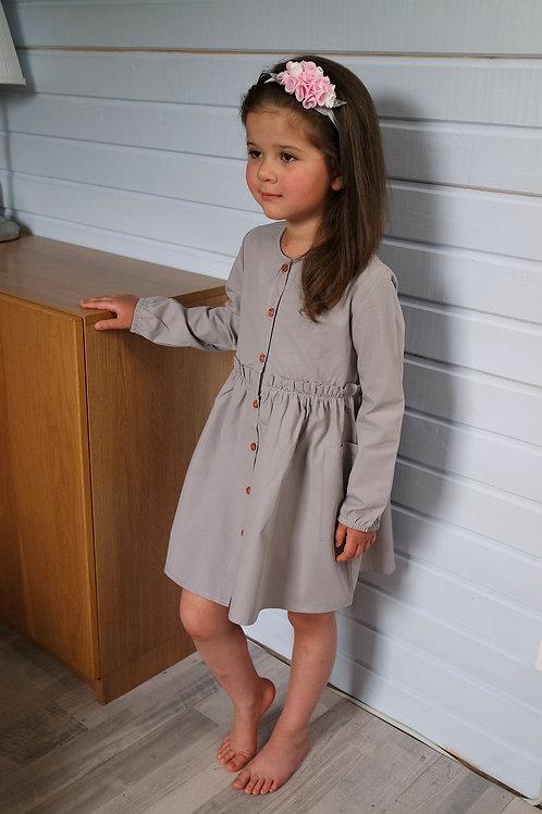 Платье Серое, с длинным рукавом