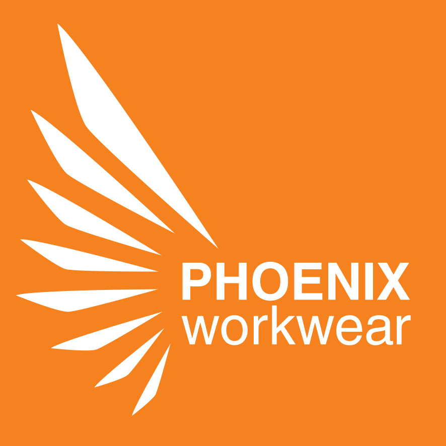Phoenix Workwear logo square negative without payoff CMYK