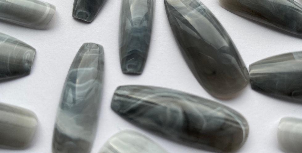 Grey marble press on nails
