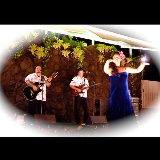 Performing with Brad Kawakami and dancer at the Princess Kaiulani hotel.