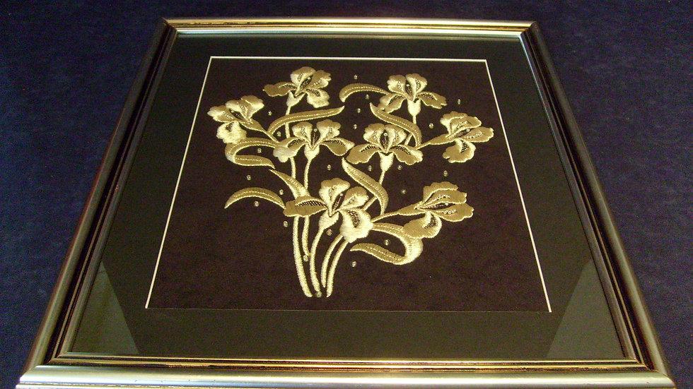 057 - Uokvirena slika velika zlatovez motiv Iris