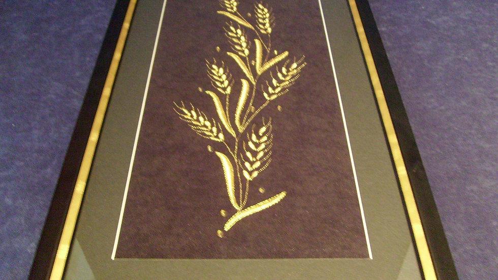 055 - Uokvirena slika velika zlatovez motiv Žito