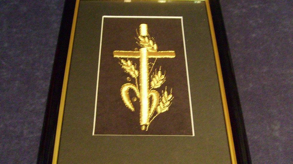 045 - Uokvirena slika velika zlatovez motiv Križ u žitu