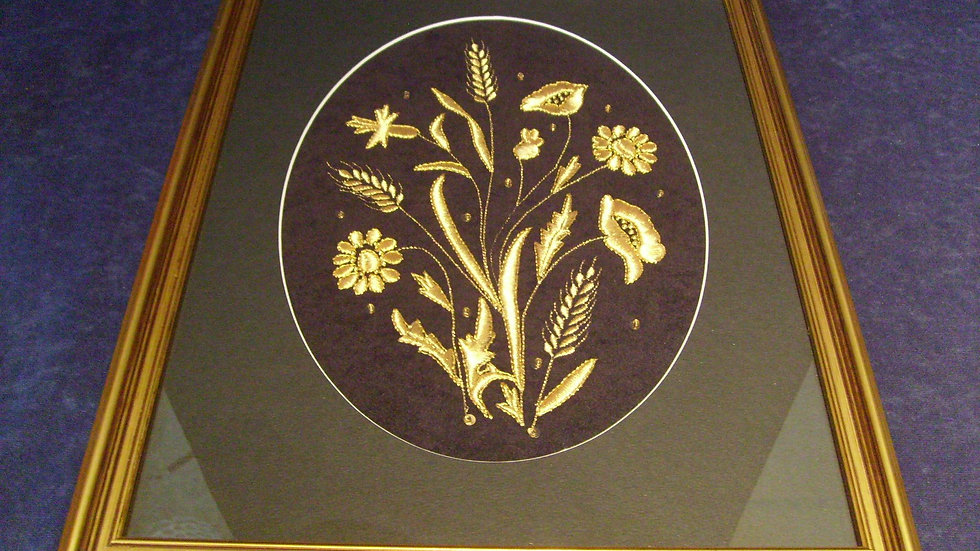 047 - Uokvirena slika velika zlatovez motiv Poljsko cvijeće