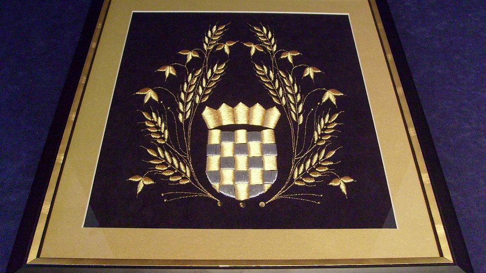 182 - Uokvirena slika velika zlatovez motiv Grb