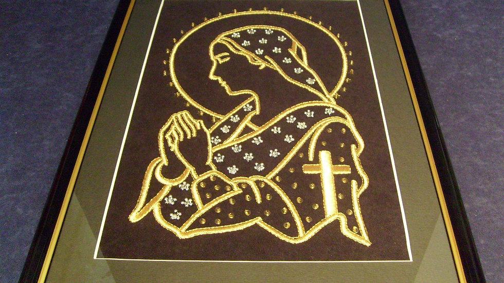 043 - Uokvirena slika velika zlatovez motiv Gospa