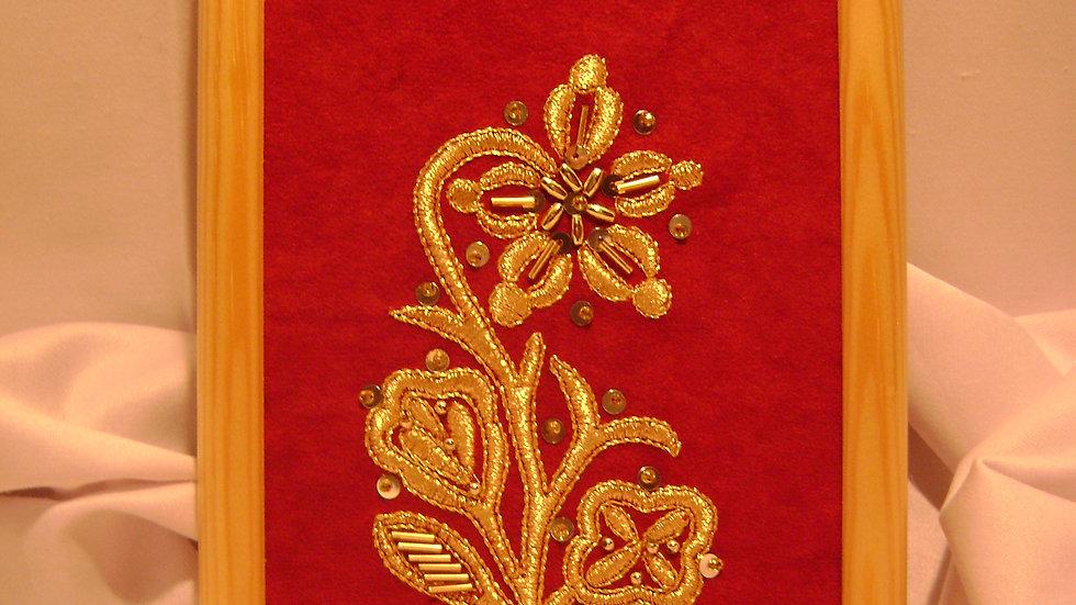 048 - Ukovirena slika mala zlatovez motiv s nošnje
