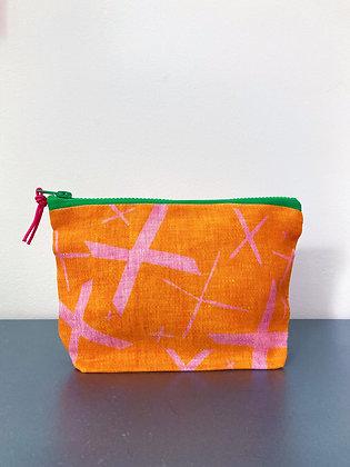 Kisses Pouch Medium Orange/Pink Linen