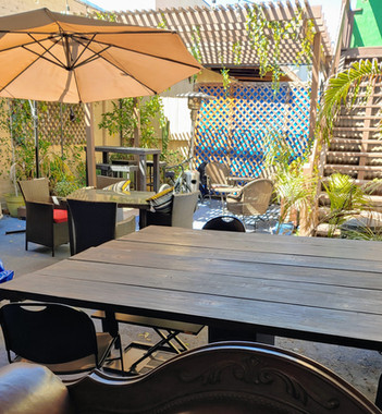 lunch in courtyard