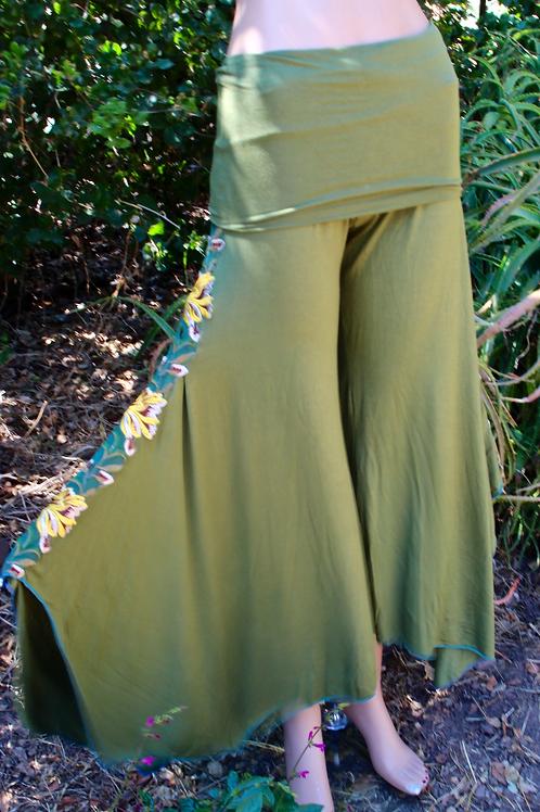 Green/Gold Flora Stripe {Jungle Flow Pant}