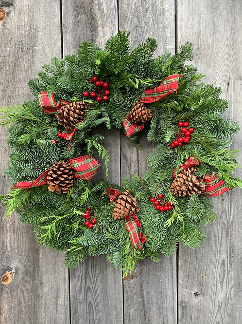 Wreath with Plaid Bow & Pinecones - 12""