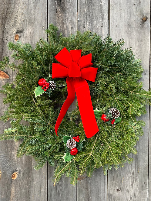 Wreath with Holly & Pine Cones