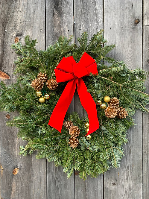 """Wreath with Ornaments & Pine Cones - 12"""""""