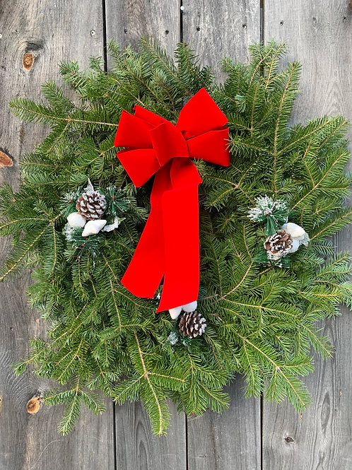 Wreath with Ribbon & Snow