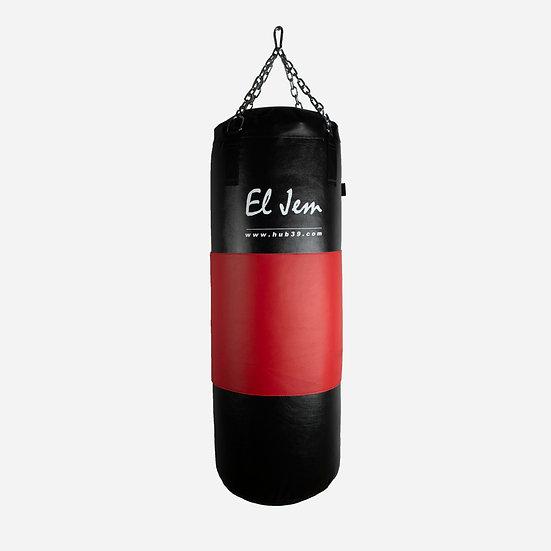 Sacco boxe h 100 x 35 con fascia cuoio rossa