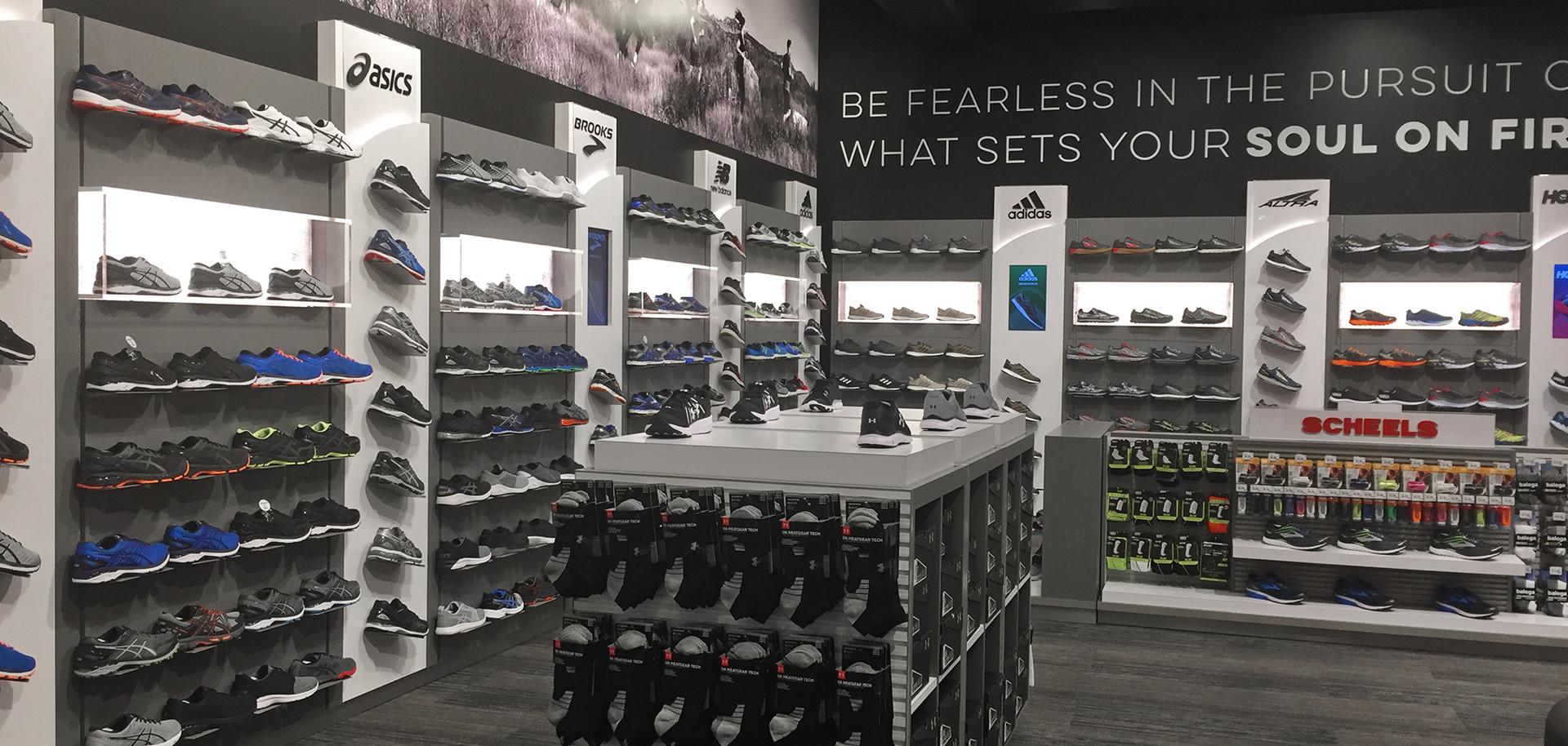 Scheels Brand footwear wall