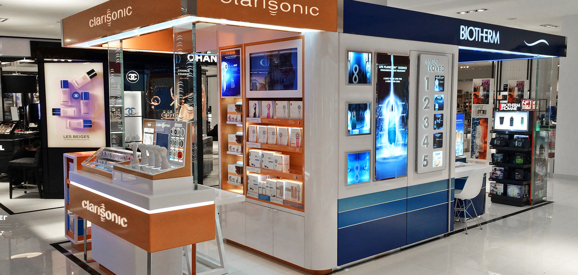 Clarisonic and Biotherm kiosk pop up store