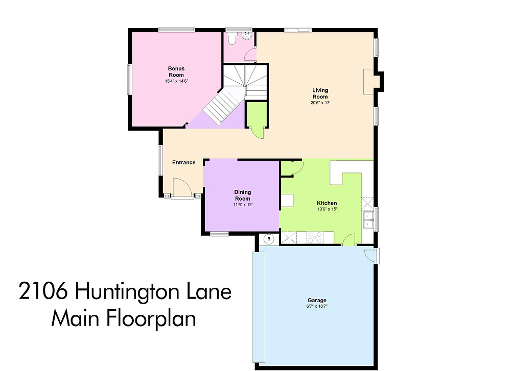 Main Floorplan - 2106 Huntington Lane, B