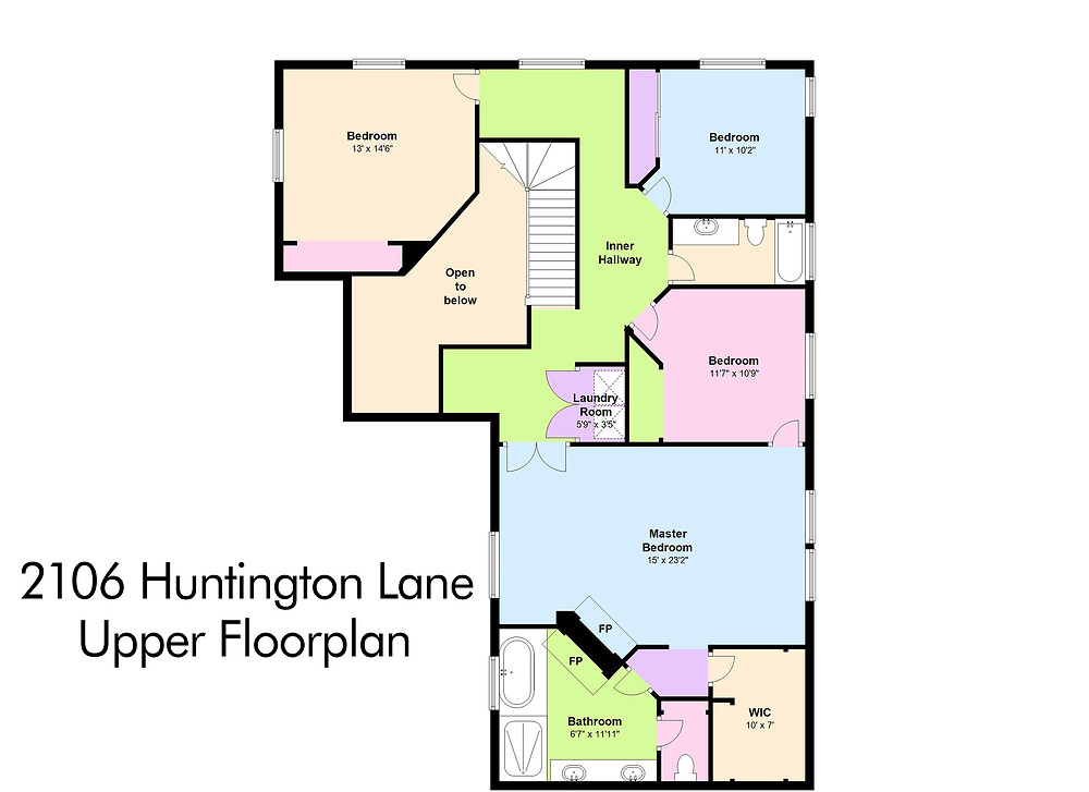 Upper Floorplan 2106 Huntington Lane, B
