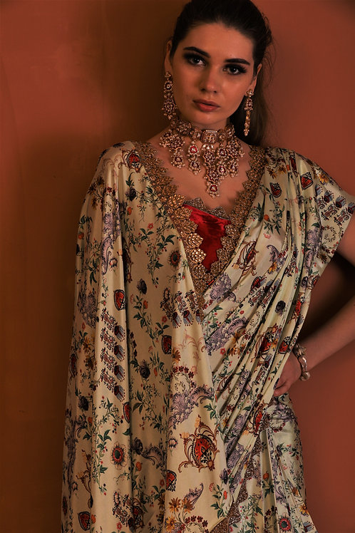 pre stitched printed saree