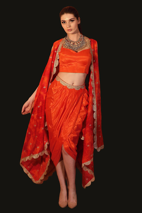 tie and dye orange dhoti set