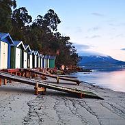 Sunrise over beach huts in Hobart, Tasma