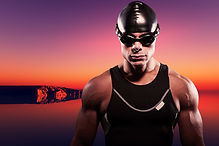 Swimmer muscled triathlon man with cap a