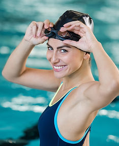 Portrait of fit young woman wearing swim