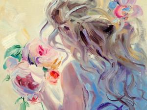 """Новая картина """"Девочка и розы""""."""