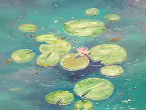 """Новая картина """"Изумрудный пруд с кувшинками""""."""