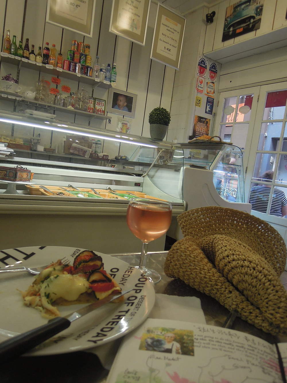 A coffee shop in Avignon where Cynthia created TLG Tea House in paper