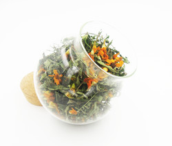Marigold flower tea in glass jar