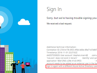 Fix Azure AD Error AADSTS50020 when logged in user doesn't have permissions to selected Applicat