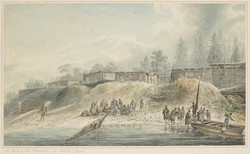 James Weber, Habitations in Nootka Sound, 1778, ink and watercolour on paper, Library NSW