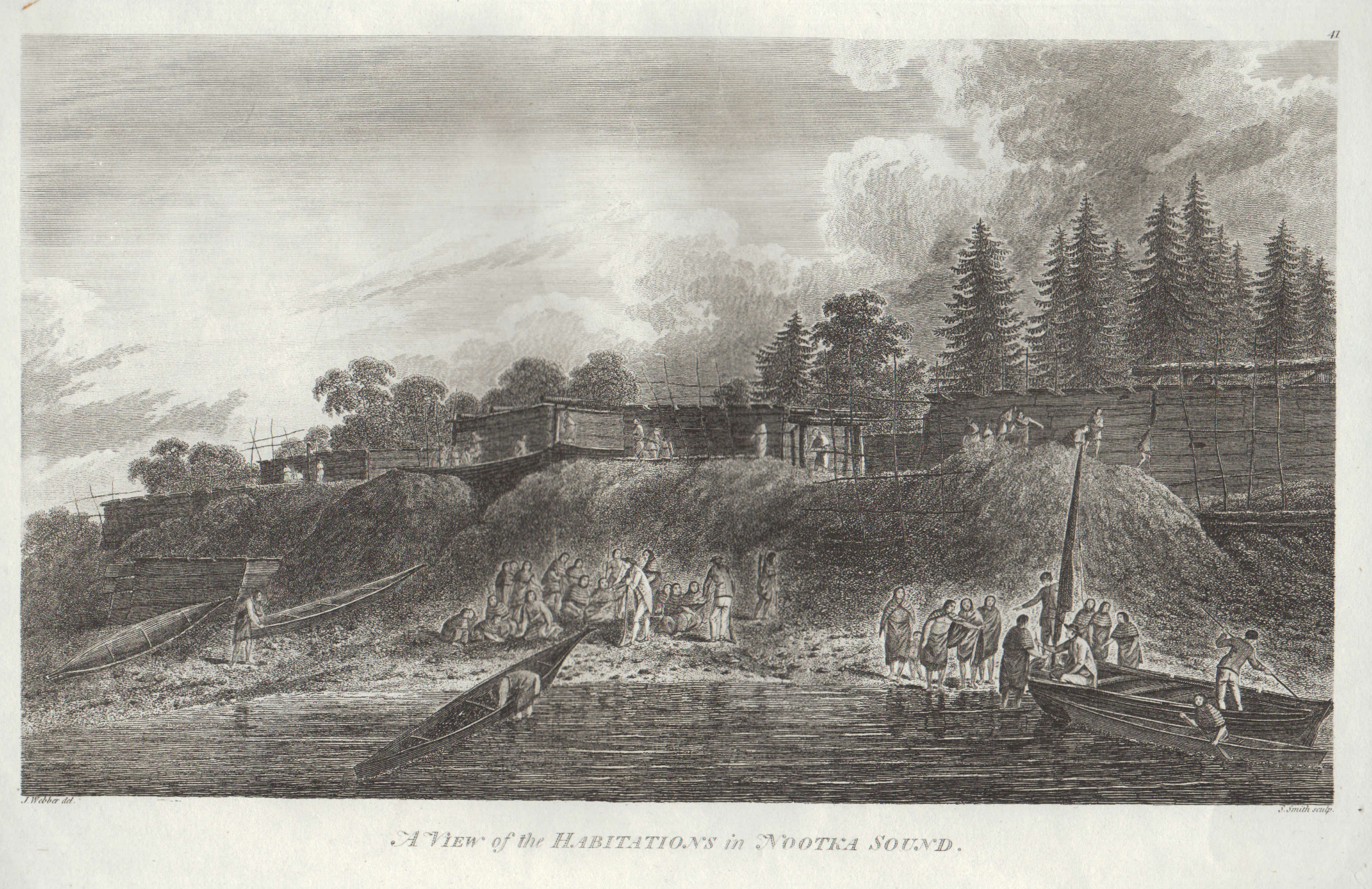 Engraving after James Weber, Habitations in Nootka Sound, published 1784