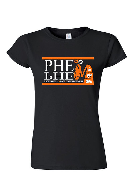 PHE Women's Crew Neck T-shirt- Orange/White Logo