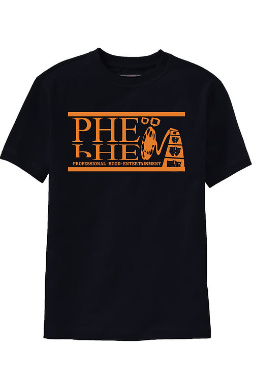 PHE Men's Crew Neck T-shirt- Orange Logo