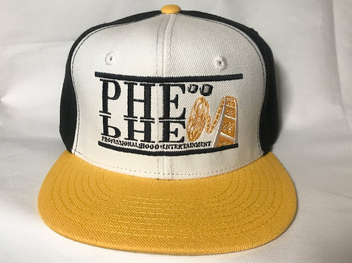 PHE Snap Back Hat- Black/Gold Logo